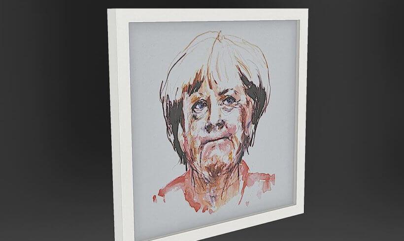 3D naskenovaný obraz Angely Merkelové pro umělecké prezentace v AR